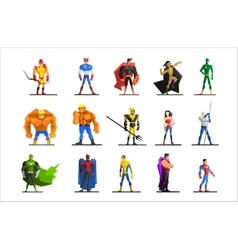 Superheroes in different poses and costumes vector