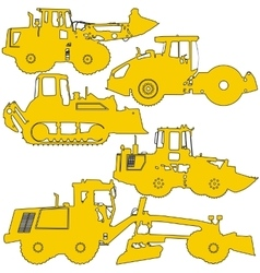Set silhouettes road construction equipment vector