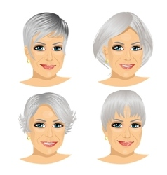 Set of mature woman avatar vector