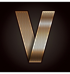 Letter metal gold ribbon - v vector
