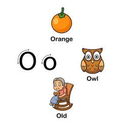 Alphabet letter o-orange owl old vector