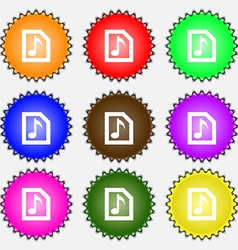 Audio MP3 file icon sign A set of nine different vector image