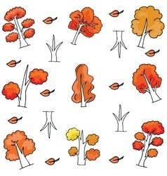 Autumn tree set of doodles vector