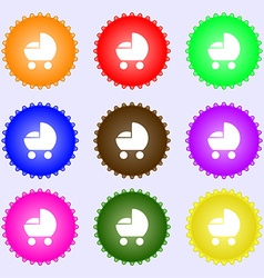 baby pram icon sign Big set of colorful diverse vector image