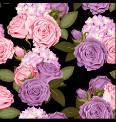 beautiful roses and hydrangea seamless vector image