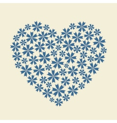 Blue heart flower bouquet icon vector image vector image