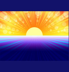 Blue yellow background with sun rays vector