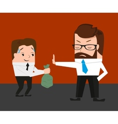 Businessman has refused a bribe vector image vector image