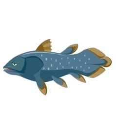 Cartoon blue Coelacanth vector image vector image