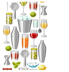 Cocktail bar seamless pattern essential tools vector
