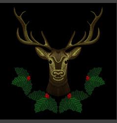 Embroidery cute deer face with christmas mistletoe vector