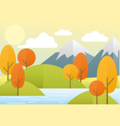 flat autumn nature landscape vector image vector image