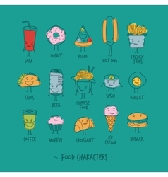 Food characters turquoise vector image vector image