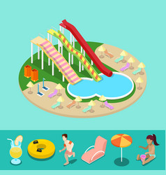 Isometric aqua park with water slides and pool vector
