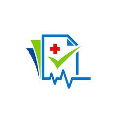 Medic file check list logo vector