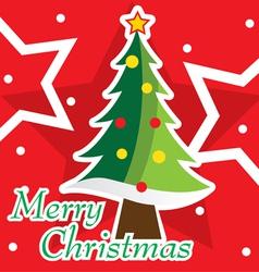 Merry Christmas tree postcard vector image