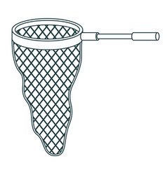 Monochrome contour of fishing net with handle vector