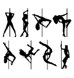 Pole dance women vector image vector image