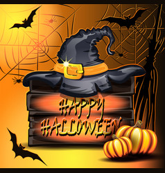 Pumpkins hat on the box and bats in the basement vector