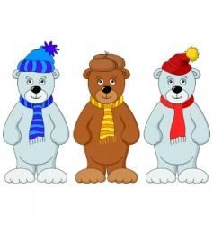 teddy bears in winter costume vector image vector image