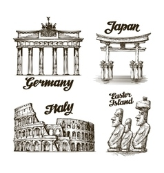 Travel hand drawn sketch germany japan italy vector