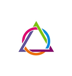 Triangle round connect colorful logo vector