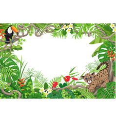 tropical frame with cougar cub and toucan vector image vector image