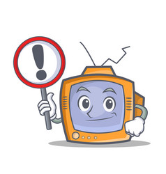 Tv character cartoon object with sign vector