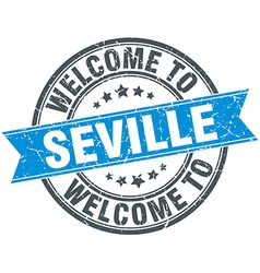 Welcome to seville blue round vintage stamp vector