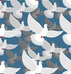 White Dove seamless pattern flock of white doves vector image vector image