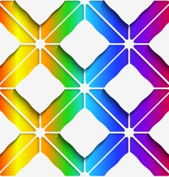 White rectangles ornament on rainbow background vector