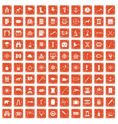 100 binoculars icons set grunge orange vector