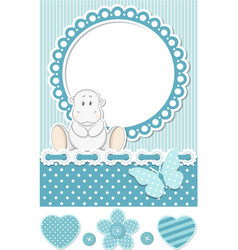 Happy baby hippo blue scrapbook set vector