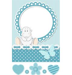 Happy baby hippo blue scrapbook set vector image