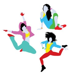 Break dancing silhouettes vector