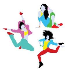 Break dancing silhouettes vector