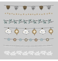 Set of christmas borders strings garlands vector