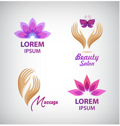Set of spa logos lotus massage hands vector