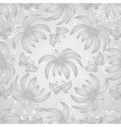 Vintage seamless pattern with gradient silvery flo vector