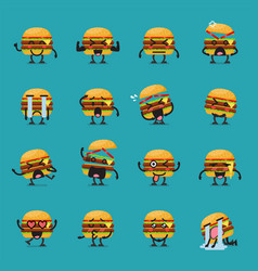 Burger character emoji set vector