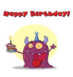 Birthday monster cartoon vector