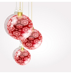 Christmas balls on golden strings on a light vector image
