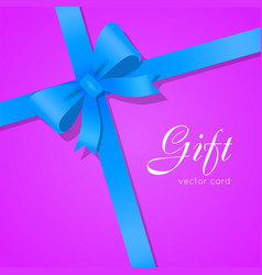 Gift blue wide ribbon bright bow with two petals vector