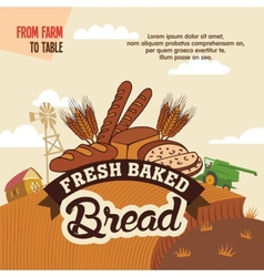 Fresh baked bread from farm to table vector