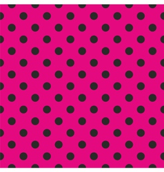 Tile black polka dots on pink background vector image