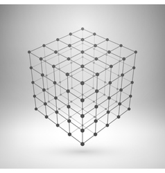 Wireframe mesh polygonal cube vector