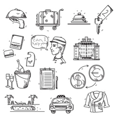 Hotel services icons doodle hand drawn style vector