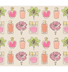 Cosmetics seamless pattern hand drawn perfume vector