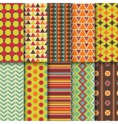 Set of seamless colorful retro patterns geometric vector