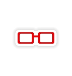 Icon sticker realistic design on paper spectacles vector